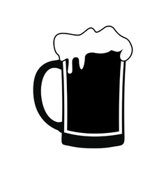 Mug of beer black simple icon vector image
