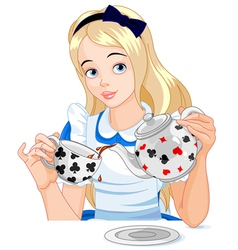 Alice takes tea cup vector image vector image