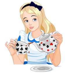 Alice takes tea cup vector image