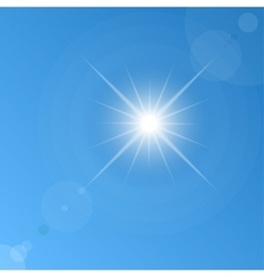 Background of blue sky and sun vector
