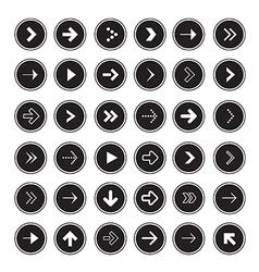 Black Arrows Set in Circles vector image vector image