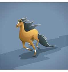 Brown running horse with simple background vector