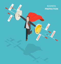 Business protection flat isometric low poly vector