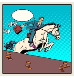 Businessman horseman on horse jumps over barrier vector