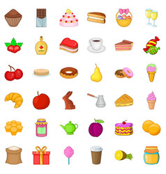 Candy icons set cartoon style vector