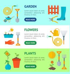 cartoon gardening equipment banner horizontal set vector image