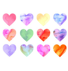 colorful watercolor hearts vector image