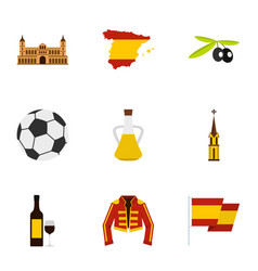 Culture features of spain icons set flat style vector