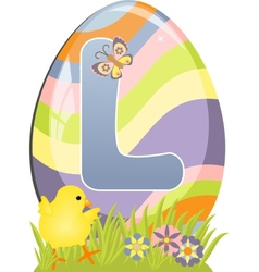 Cute initial letter L vector image vector image