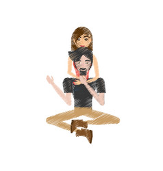 Drawing couple love sitting vector