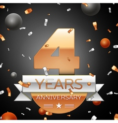 Four years anniversary celebration background with vector