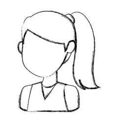 Girl faceless cartoon vector