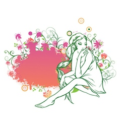 girl on a floral frame vector image