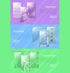 Glass doors shops and markets colourful web banner vector