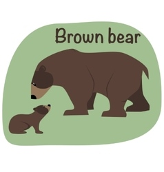 Grizzly bear whith child vector image vector image