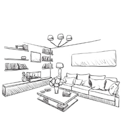 Hand drawn room interior furniture sketch vector