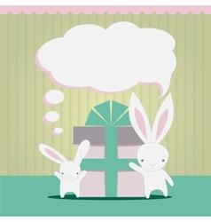 Little white rabbits Birthday gift vector image vector image