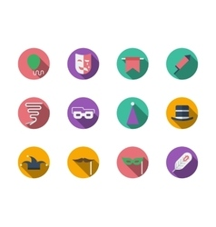 Masquerade accessories round color icons vector