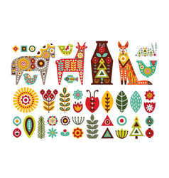 Nordic animals and floral folk elements vector