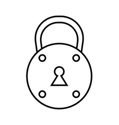 Padlock flat black and white linear icon of lock vector