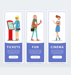 People going to watch movies cinema banners set vector