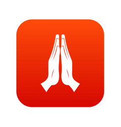 prayer icon digital red vector image vector image