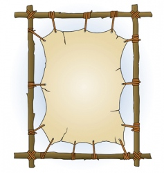 Primitive sticks and canvas frame vector
