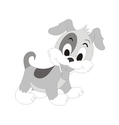 Puppy dog cartoon character vector