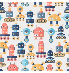 Seamless robots pattern in flat style vector