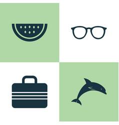 Season icons set collection of baggage mammal vector