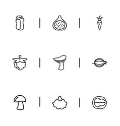 set of 9 editable food outline icons includes vector image vector image