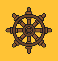 Ship steering wheel colorful icon on yellow vector