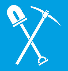 Shovel and pickaxe icon white vector