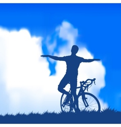 Silhouette of a cyclist vector