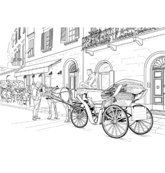 Sketch of a carriage in the street vector image vector image