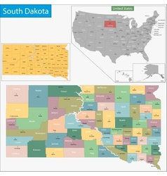 South dakota map vector