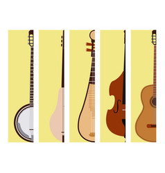 stringed dreamed musical instruments cards vector image