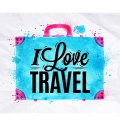 Suitcase watercolors travel vector image
