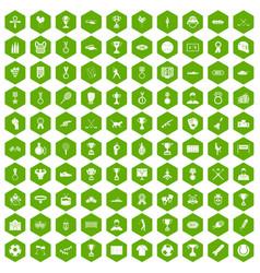 100 medal icons hexagon green vector