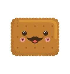 Cookie kawaii dessert cute sweet food icon vector