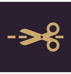 The scissors icon cut here symbol flat vector