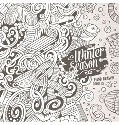 Cartoon cute doodles winter season frame design vector