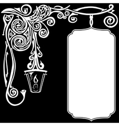 Ornament of white color on a black background with vector image