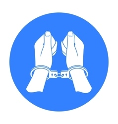 Hands in handcuffs icon in black style isolated on vector image