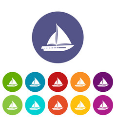 Sailing yacht set icons vector