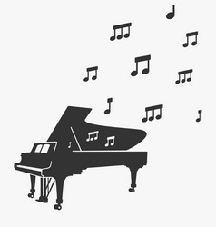 Piano silhouette and notes vector