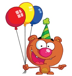 Birthday bear in a party hat vector