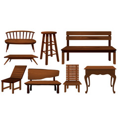 different designs of chairs made of wood vector image