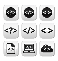 Programming code buttons set vector