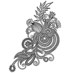 Line art ornate flower design vector